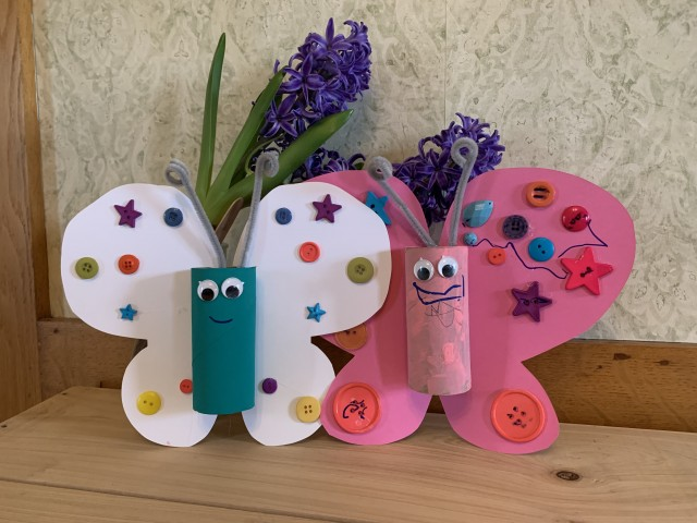 Toilet paper tubes ere used to make these cute butterflies.